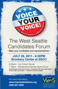 The West Seattle Candidates Forum - Poster_2011-07-28